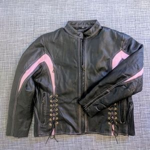 Dream Apparel Motorcycle Jacket Leather Pink Black